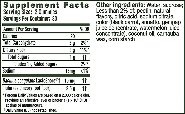 Align DualBiotic Prebiotic + Probiotic Nutrition Facts