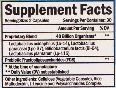 BioSchwartz Advanced Strength Probiotic Nutrition Facts