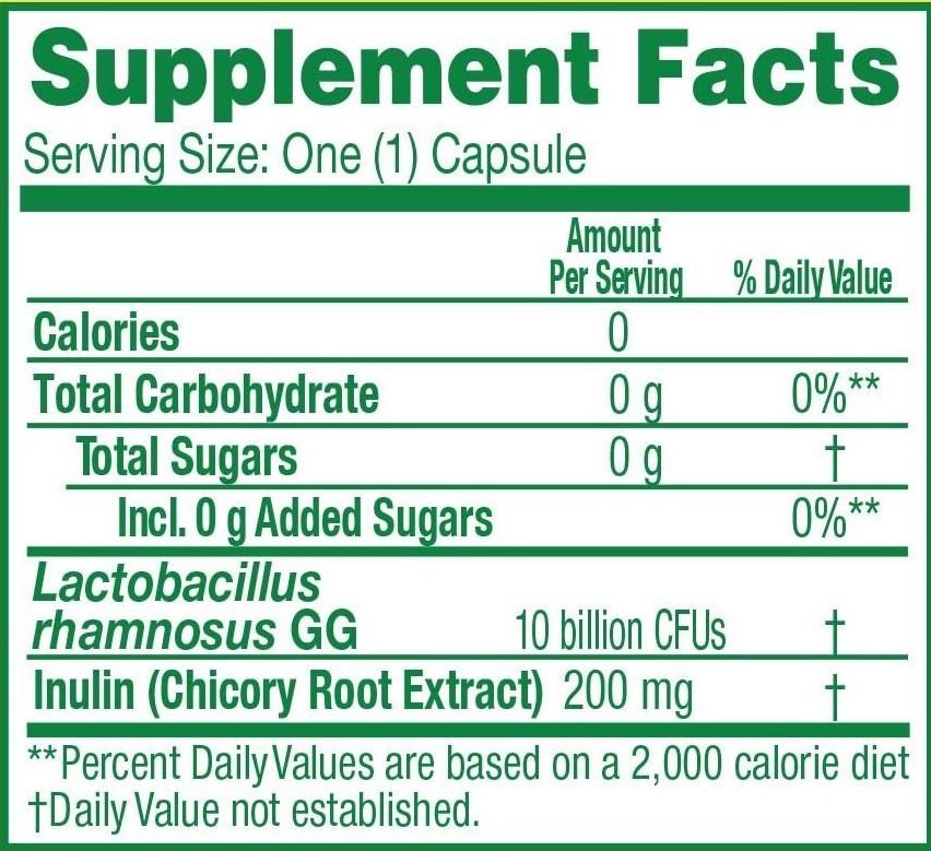 Culturelle Daily Probiotic Nutrition Facts