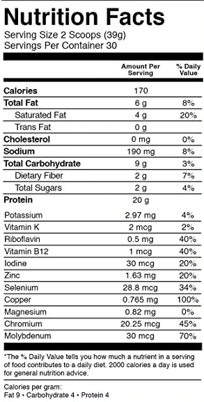KOS Organic Plant Based Protein Powder Nutrition Facts
