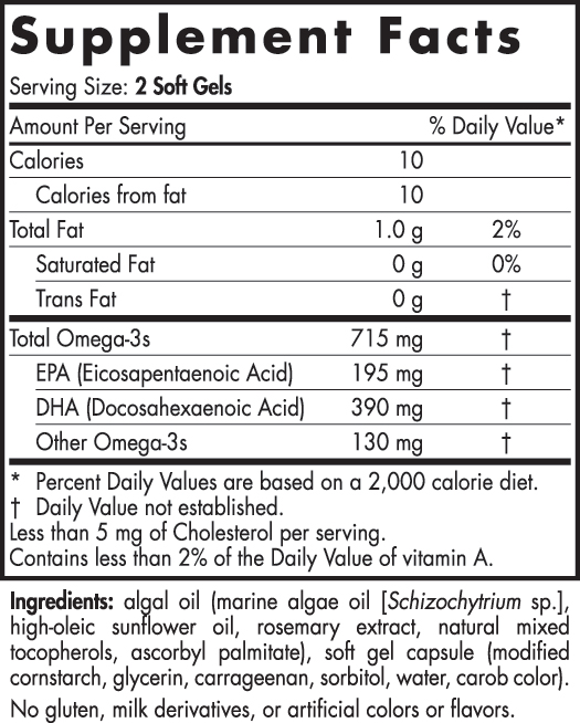 Nordic Naturals Algae Omega Nutrition Facts