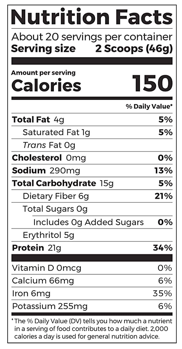 Orgain Organic Plant Based Protein Powder Nutrition Facts