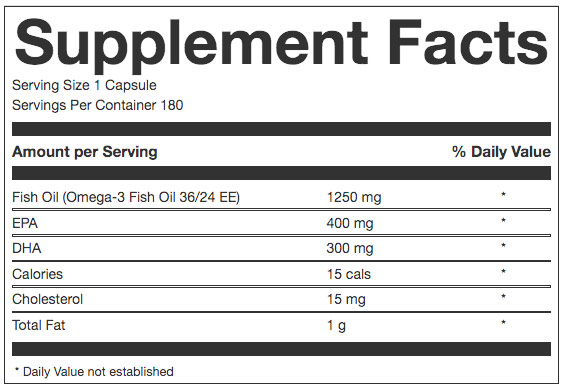 OWN PWR Fish Oil Nutrition Facts