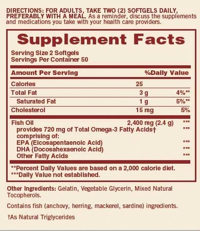 Sundown Naturals Extra Strength Fish Oil Nutrition Facts
