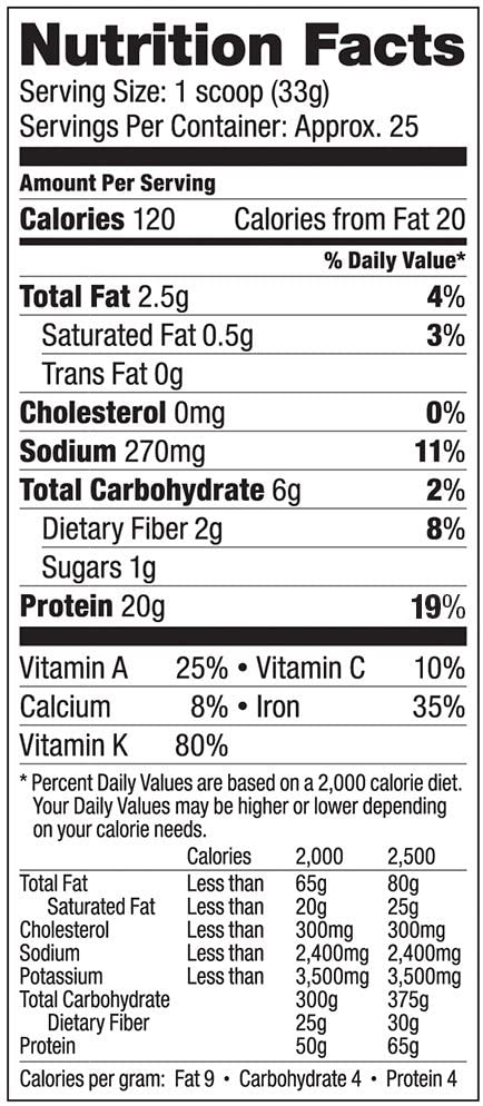 Vega Protein & Greens Nutrition Facts